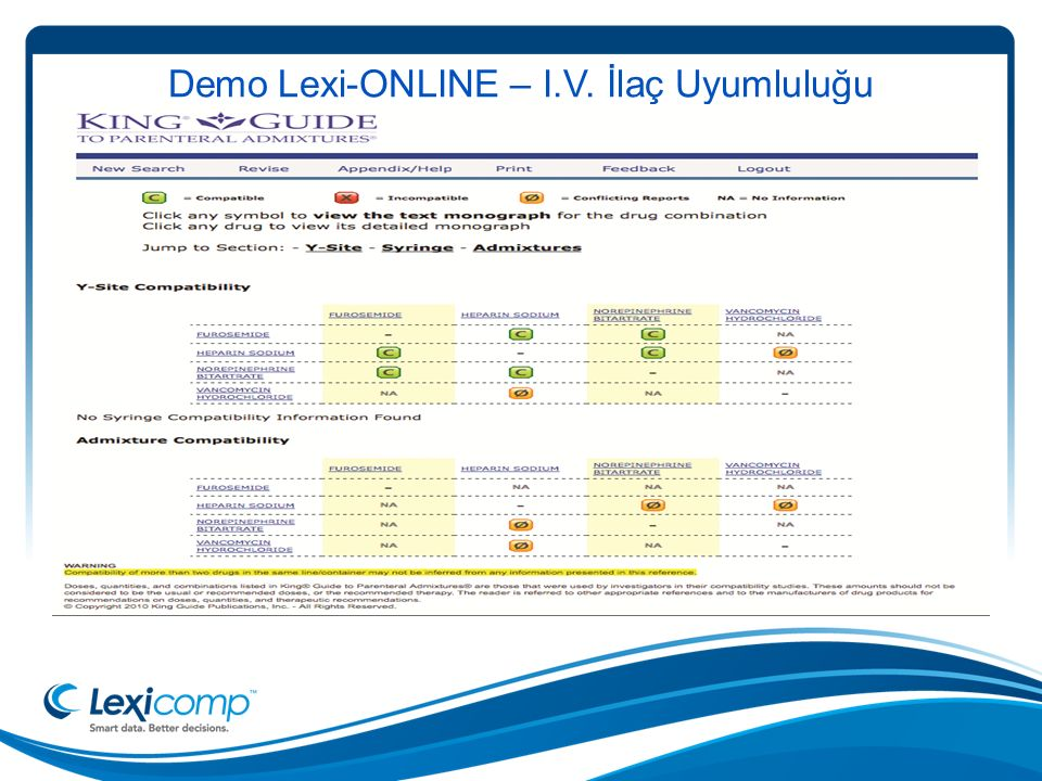 Demo Lexi-ONLINE – I.V. İlaç Uyumluluğu