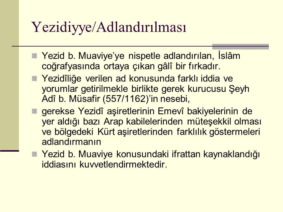 Yezidiyye/Adlandırılması Yezid b. Muaviye'ye nispetle adlandırılan, İslâm coğrafyasında ortaya çıkan gâlî bir fırkadır. Yezidîliğe verilen ad konusund