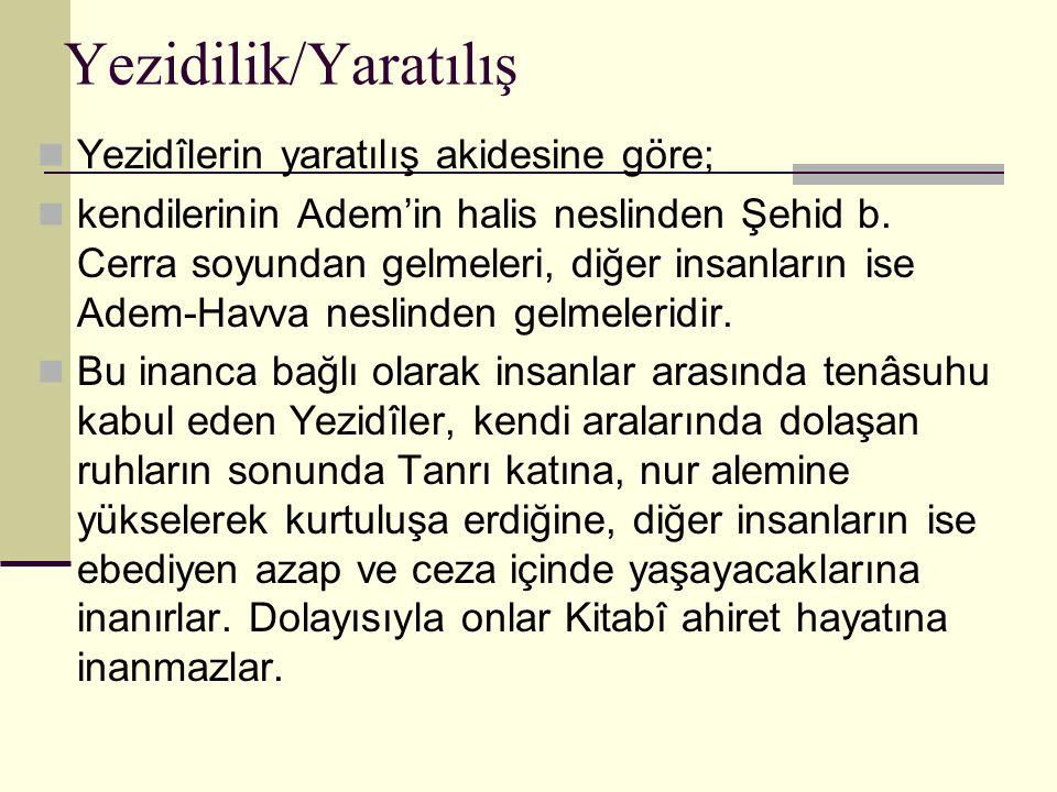 Yezidilik/Yaratılış Yezidîlerin yaratılış akidesine göre; kendilerinin Adem'in halis neslinden Şehid b. Cerra soyundan gelmeleri, diğer insanların ise