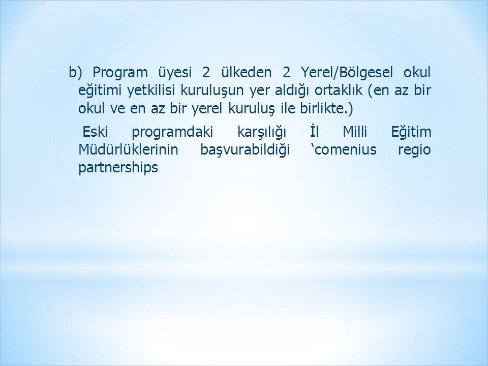 b) Program üyesi 2 ülkeden 2 Yerel/Bölgesel okul eğitimi yetkilisi kuruluşun yer aldığı ortaklık (en az bir okul ve en az bir yerel kuruluş ile birlikte.) Eski programdaki karşılığı İl Milli Eğitim Müdürlüklerinin başvurabildiği 'comenius regio partnerships
