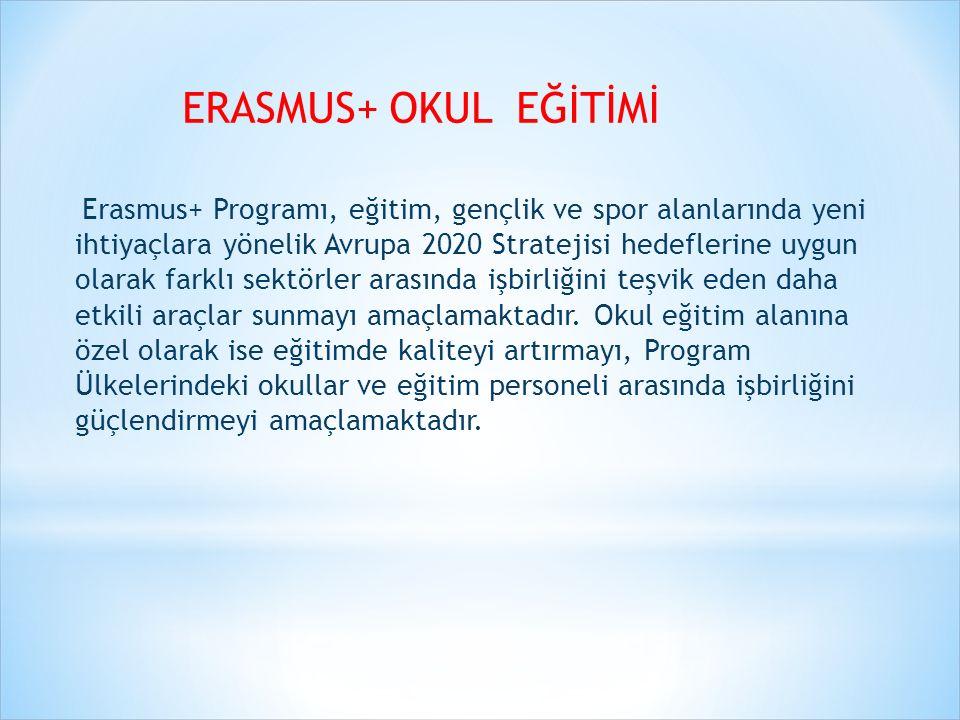 ERASMUS+ OKUL EĞİTİMİ Erasmus+ Okul Eğitimi faaliyetlerinin hedef kitlesi en genel anlamıyla, okul eğitimine taraf olan kamu ya da özel kurum ve kuruluşlar ile bu kurumlardaki idareciler, eğitimciler/öğretmenler ve öğrencileri kapsamaktadır.