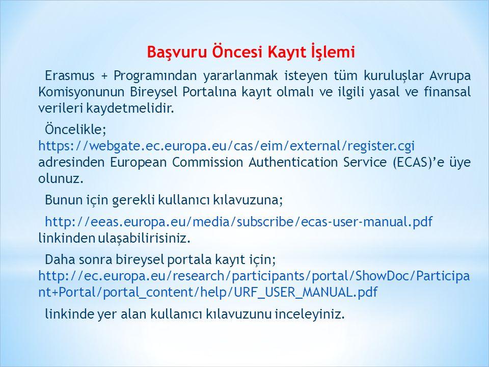Başvuru Öncesi Kayıt İşlemi Erasmus + Programından yararlanmak isteyen tüm kuruluşlar Avrupa Komisyonunun Bireysel Portalına kayıt olmalı ve ilgili ya