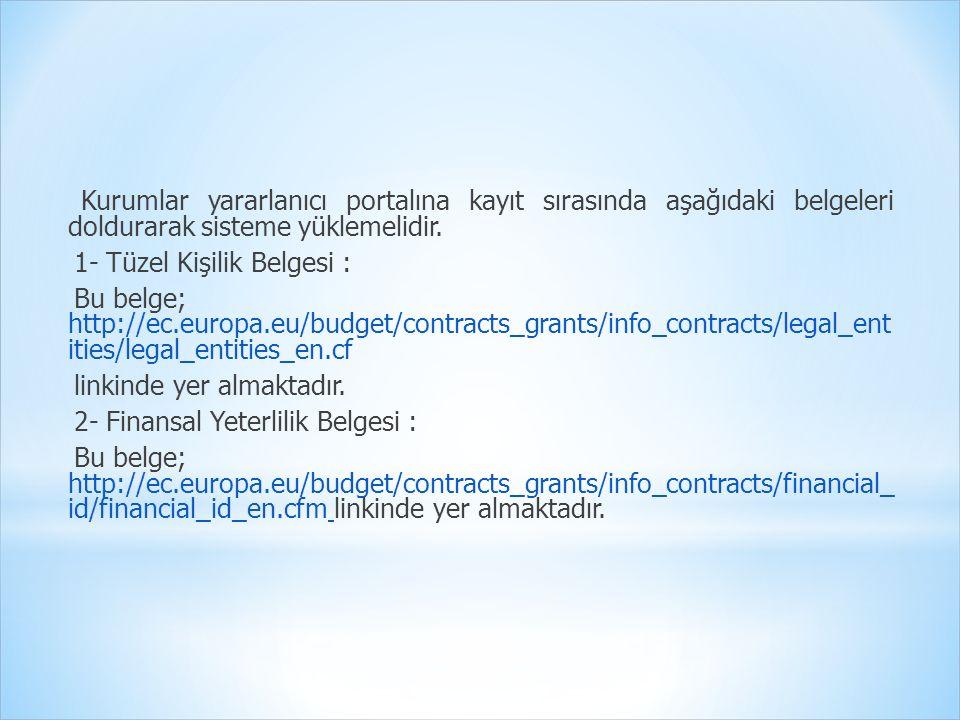 Kurumlar yararlanıcı portalına kayıt sırasında aşağıdaki belgeleri doldurarak sisteme yüklemelidir. 1- Tüzel Kişilik Belgesi : Bu belge; http://ec.eur