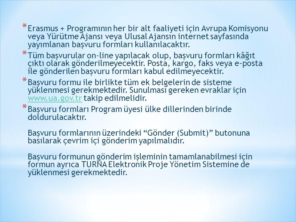 * Erasmus + Programının her bir alt faaliyeti için Avrupa Komisyonu veya Yürütme Ajansı veya Ulusal Ajansın internet sayfasında yayımlanan başvuru for