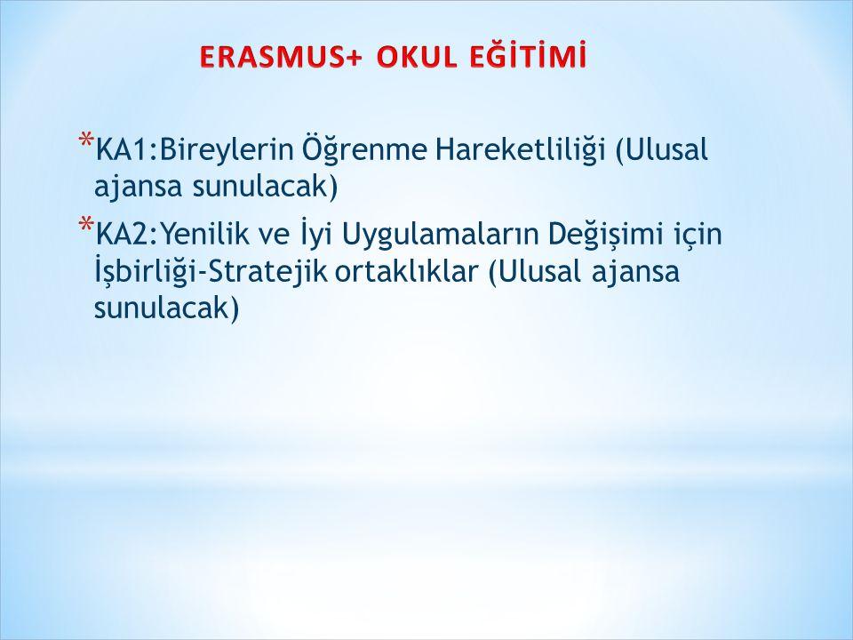 * KA1:Bireylerin Öğrenme Hareketliliği (Ulusal ajansa sunulacak) * KA2:Yenilik ve İyi Uygulamaların Değişimi için İşbirliği-Stratejik ortaklıklar (Ulusal ajansa sunulacak)