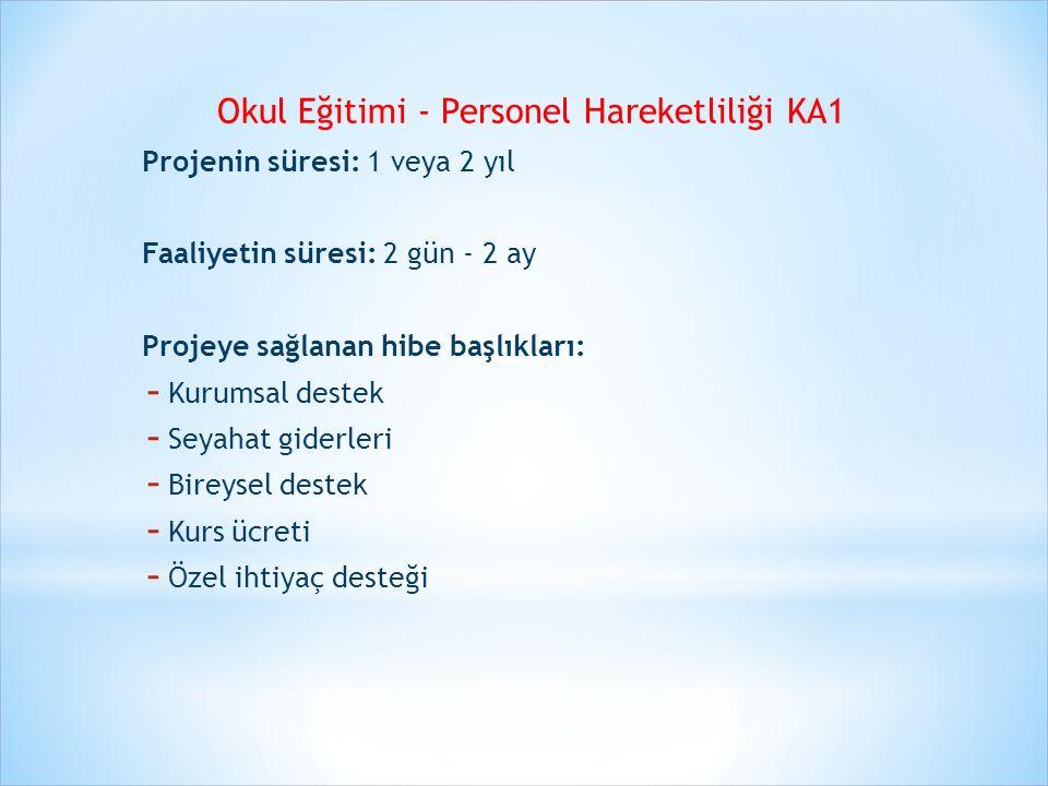 Okul Eğitimi - Personel Hareketliliği KA1 Projenin süresi: 1 veya 2 yıl Faaliyetin süresi: 2 gün - 2 ay Projeye sağlanan hibe başlıkları: - Kurumsal d