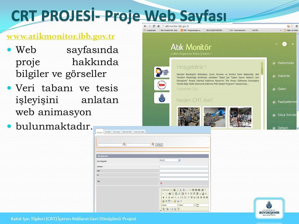 CRT PROJESİ- Proje Web Sayfası CRT PROJESİ- Proje Web Sayfası www.atikmonitor.ibb.gov.tr Web sayfasında proje hakkında bilgiler ve görseller Veri tabanı ve tesis işleyişini anlatan web animasyon bulunmaktadır.