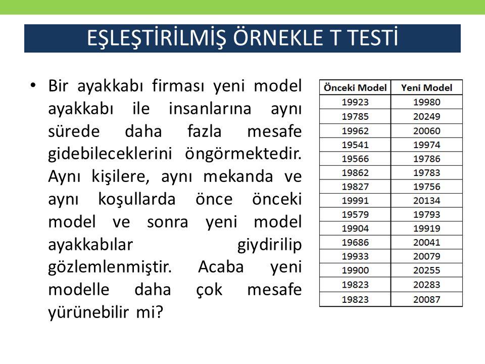 EŞLEŞTİRİLMİŞ ÖRNEKLE T TESTİ Gelen ekranda Değişken 1 Aralığı alanına test için girdiğimiz Önceki Model ve Değişken 2 Aralığı alanına ise Yeni Model sütunu değerleri seçilir.