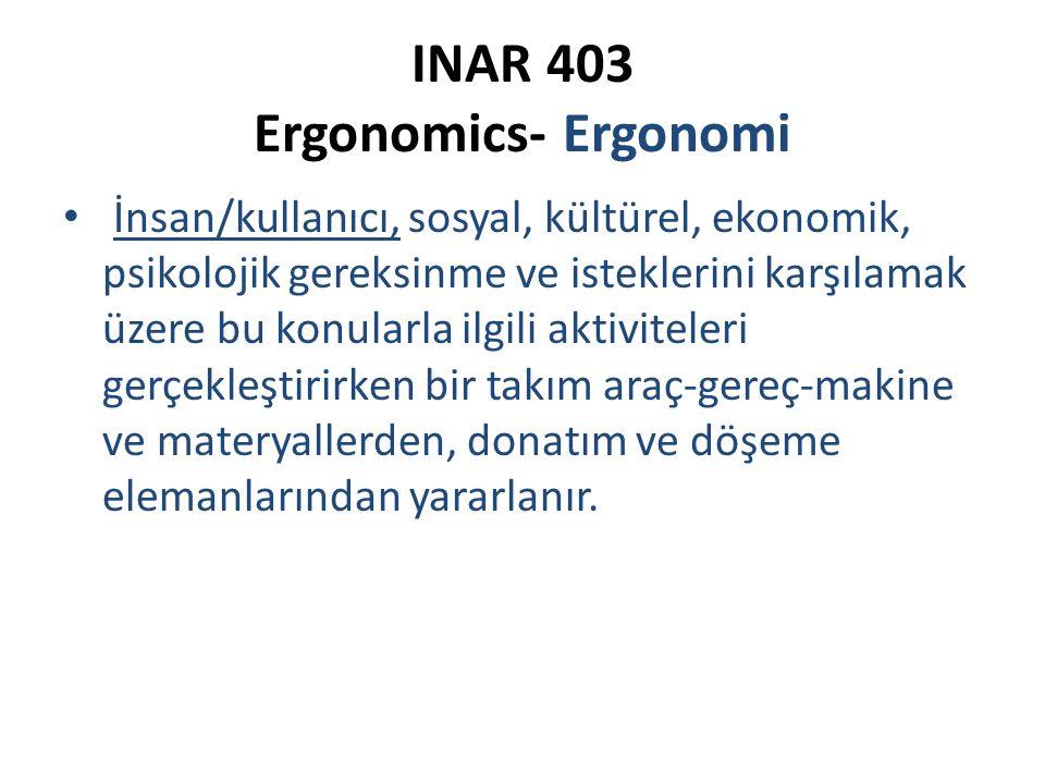 INAR 403 Ergonomics- Ergonomi İnsan/kullanıcı, sosyal, kültürel, ekonomik, psikolojik gereksinme ve isteklerini karşılamak üzere bu konularla ilgili a