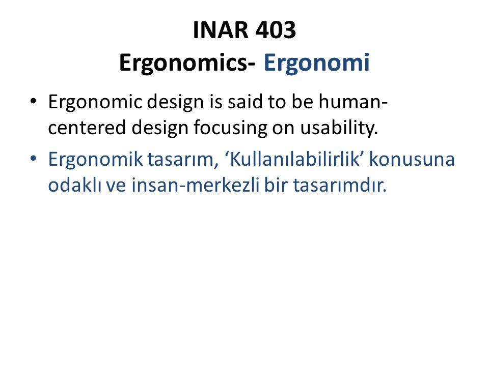 INAR 403 Ergonomics- Ergonomi Ergonomic design is said to be human- centered design focusing on usability. Ergonomik tasarım, 'Kullanılabilirlik' konu
