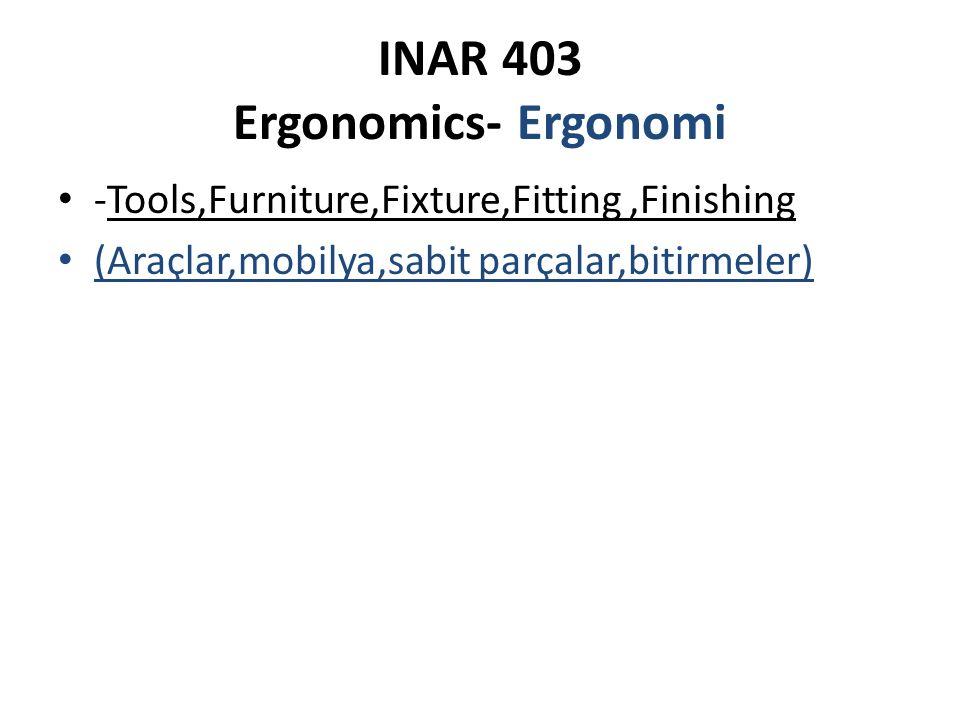 INAR 403 Ergonomics- Ergonomi Kapsamı İnsan, makine ve çevre üçlüsü olan Ergonomi nin hedefi yalnızca verimliliği arttırmak değil, aynı zamanda insan/kullanıcı, eylem-araç-donatı elemanı ve mobilya arasındaki uyumu da sağlamaktır.