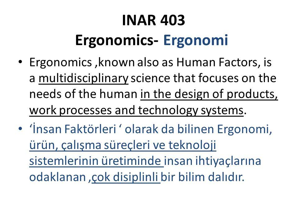 INAR 403 Ergonomics- Ergonomi Ergonominin odağı: İnsanlarla, yaptıkları işler, kullandıkları nesneler, çalıştıkları,seyahat ettikleri,oynadıkları çevreler arasındaki 'Uyum'dur.