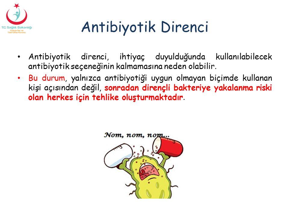 Antibiyotik Direnci Antibiyotik direnci, ihtiyaç duyulduğunda kullanılabilecek antibiyotik seçeneğinin kalmamasına neden olabilir. Bu durum, yalnızca