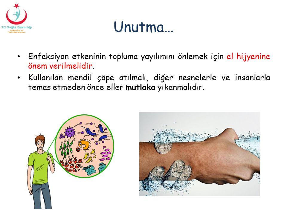 Unutma… Enfeksiyon etkeninin topluma yayılımını önlemek için el hijyenine önem verilmelidir. Kullanılan mendil çöpe atılmalı, diğer nesnelerle ve insa