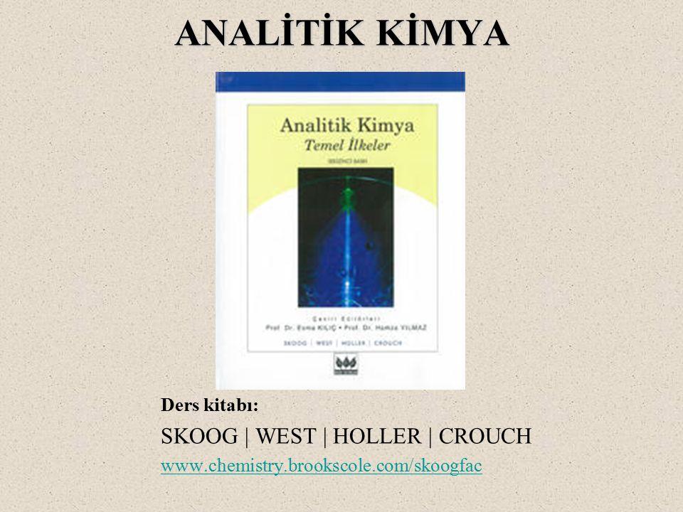 ANALİTİK KİMYA ANALİTİK KİMYA Ders kitabı: SKOOG   WEST   HOLLER   CROUCH www.chemistry.brookscole.com/skoogfac www.chemistry.brookscole.com/skoogfac
