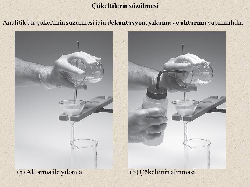 (a) Aktarma ile yıkama (b) Çökeltinin alınması Çökeltilerin süzülmesi Analitik bir çökeltinin süzülmesi için dekantasyon, yıkama ve aktarma yapılmalıdır.