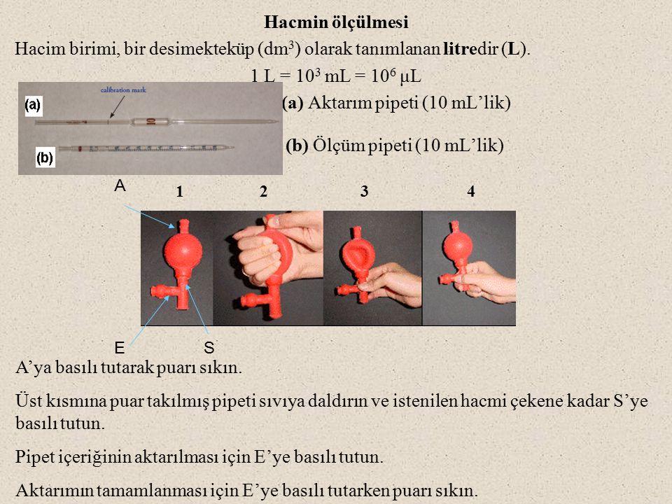 Hacmin ölçülmesi Hacim birimi, bir desimekteküp (dm 3 ) olarak tanımlanan litredir (L).