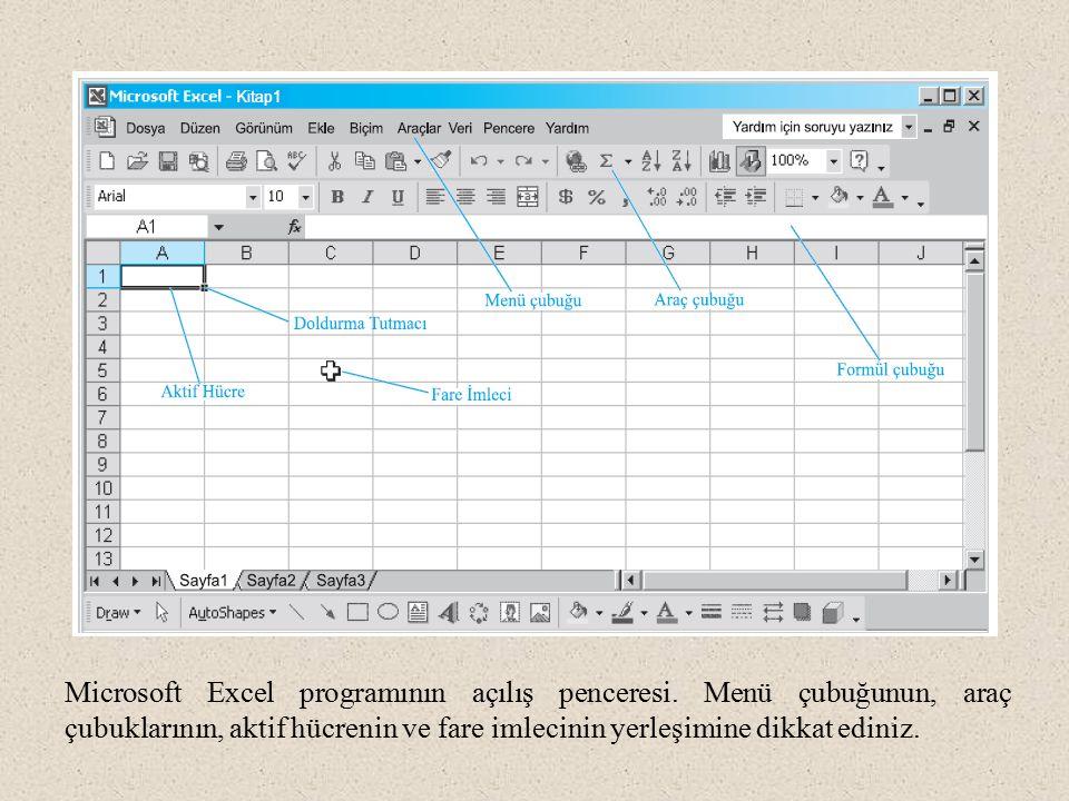 Microsoft Excel programının açılış penceresi. Menü çubuğunun, araç çubuklarının, aktif hücrenin ve fare imlecinin yerleşimine dikkat ediniz.