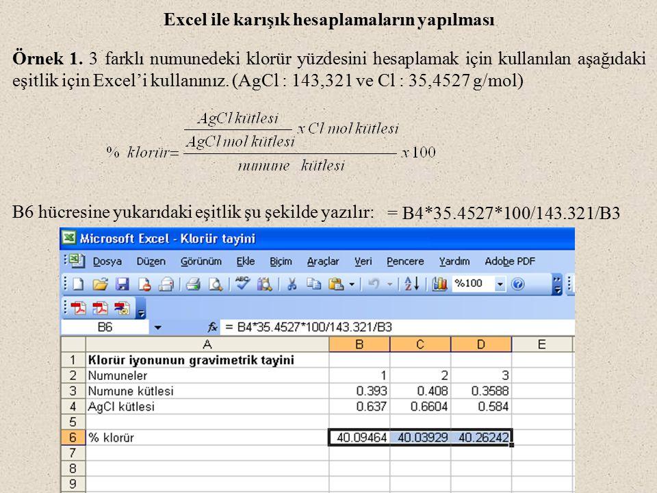 Excel ile karışık hesaplamaların yapılması Örnek 1. 3 farklı numunedeki klorür yüzdesini hesaplamak için kullanılan aşağıdaki eşitlik için Excel'i kul