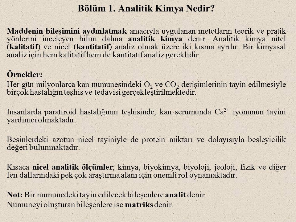Bölüm 1.Analitik Kimya Nedir.