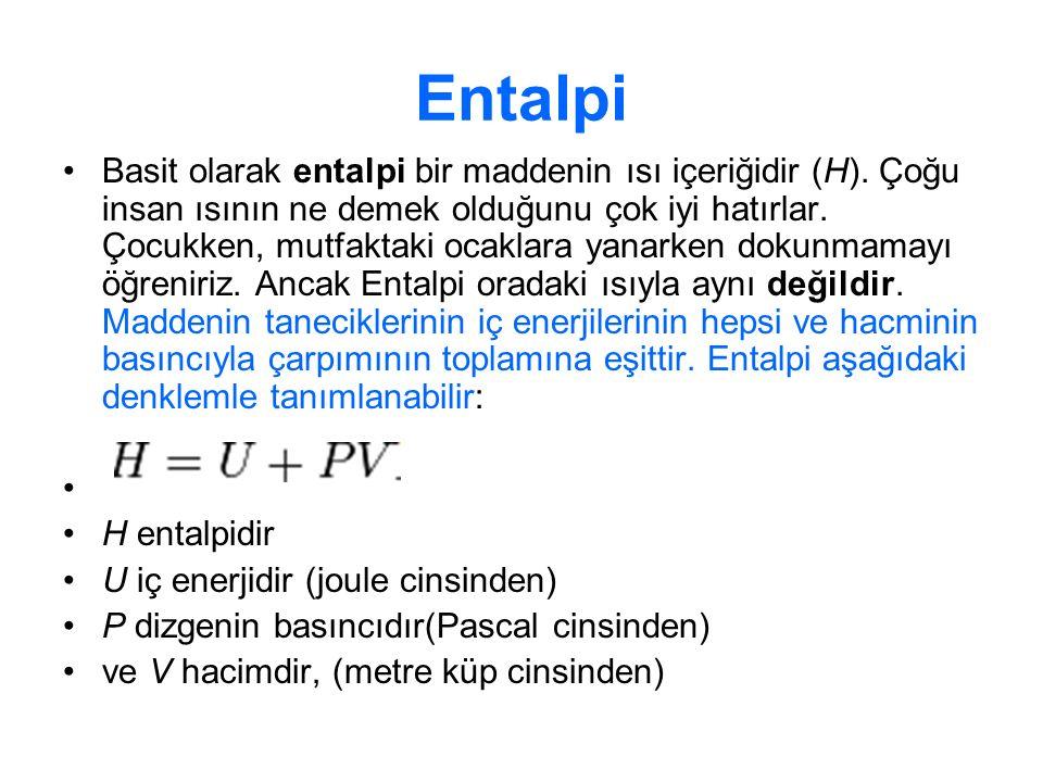 Entalpi Eğer substratlar ürünlere dönüşürken entalpi azalırsa (ΔH < 0) bu, ürünlerin entalpisinin substratlardan daha az olduğu anlamına gelir ve enerji ortama verilir.