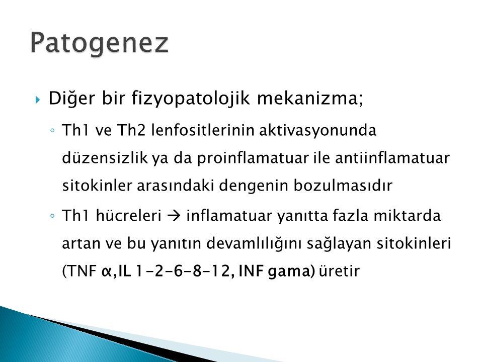 Diğer bir fizyopatolojik mekanizma; ◦ Th1 ve Th2 lenfositlerinin aktivasyonunda düzensizlik ya da proinflamatuar ile antiinflamatuar sitokinler aras