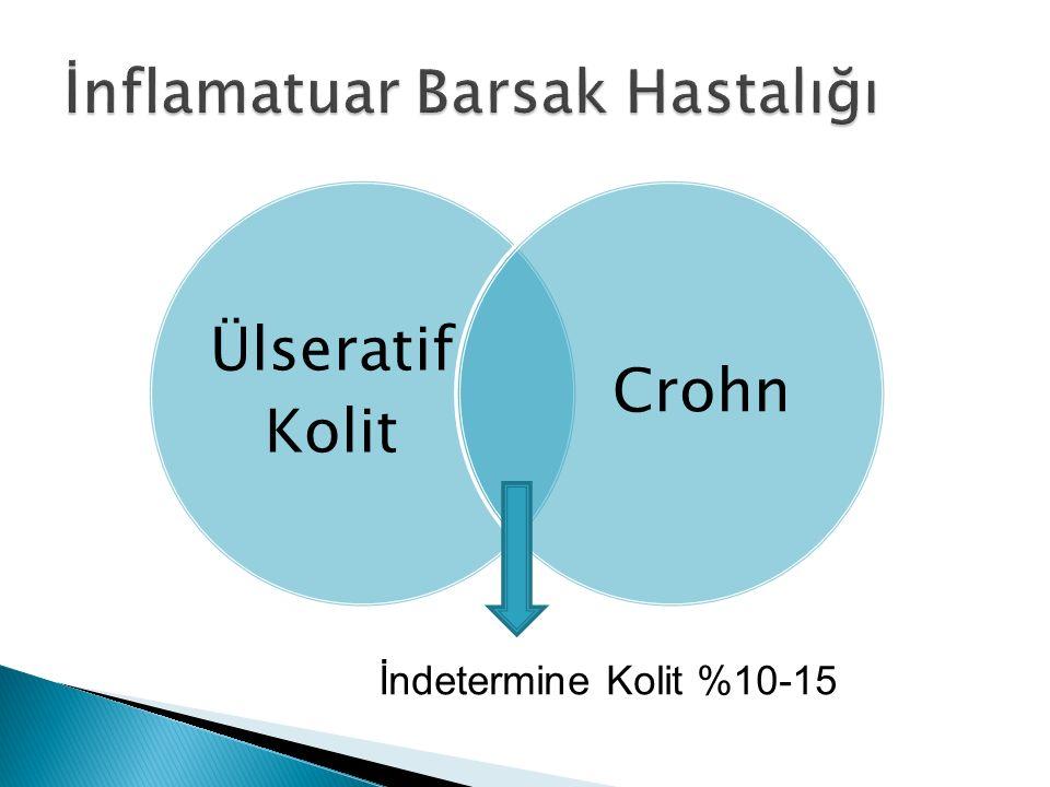Ülseratif Kolit Crohn İndetermine Kolit %10-15