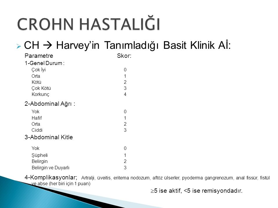  CH  Harvey'in Tanımladığı Basit Klinik Aİ: Parametre Skor: 1-Genel Durum : Çok İyi0 Orta1 Kötü2 Çok Kötü3 Korkunç4 2-Abdominal Ağrı : Yok0 Hafif1 O