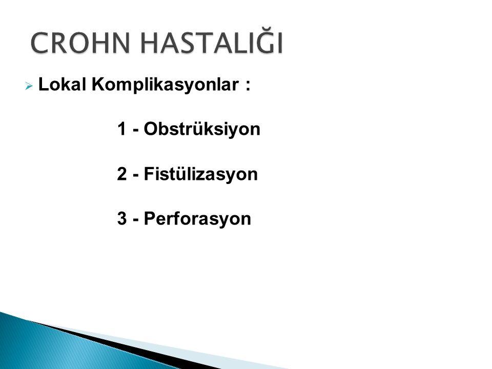  Lokal Komplikasyonlar : 1 - Obstrüksiyon 2 - Fistülizasyon 3 - Perforasyon