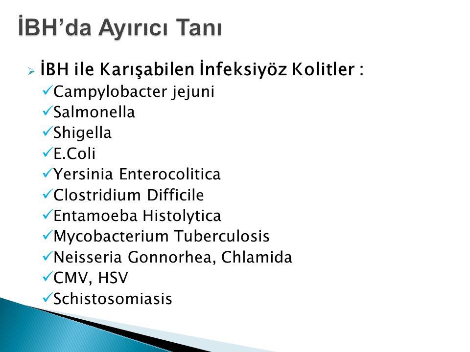  İBH ile Karışabilen İnfeksiyöz Kolitler : Campylobacter jejuni Salmonella Shigella E.Coli Yersinia Enterocolitica Clostridium Difficile Entamoeba Hi