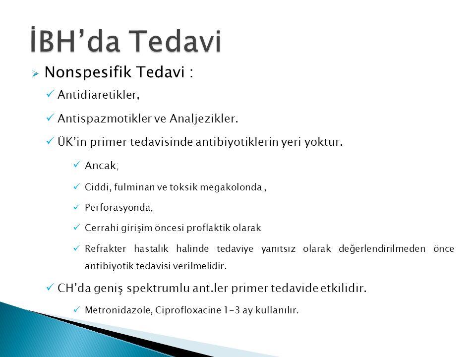  Spesifik Tedavi : 1- Sülfasalazin 2- 5-ASA Preparatları: 3- Kortikosteroidler : 4- İmmünmodülatörler : a- Azathioprine (AZA) ve 6-Merkaptopürin (6-MP) : b- Methotrexate (MTX): c- Cyclosporine (CyC) : d- FK 506 (Tacrolimus) Fusidic Asit, Rapamicine: 5-Yeni Tedavi Modaliteleri :