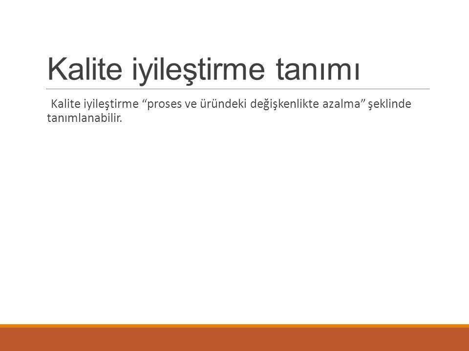 """Kalite iyileştirme tanımı Kalite iyileştirme """"proses ve üründeki değişkenlikte azalma"""" şeklinde tanımlanabilir."""