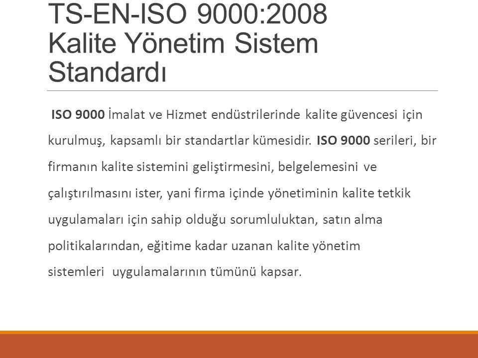 TS-EN-ISO 9000:2008 Kalite Yönetim Sistem Standardı ISO 9000 İmalat ve Hizmet endüstrilerinde kalite güvencesi için kurulmuş, kapsamlı bir standartlar