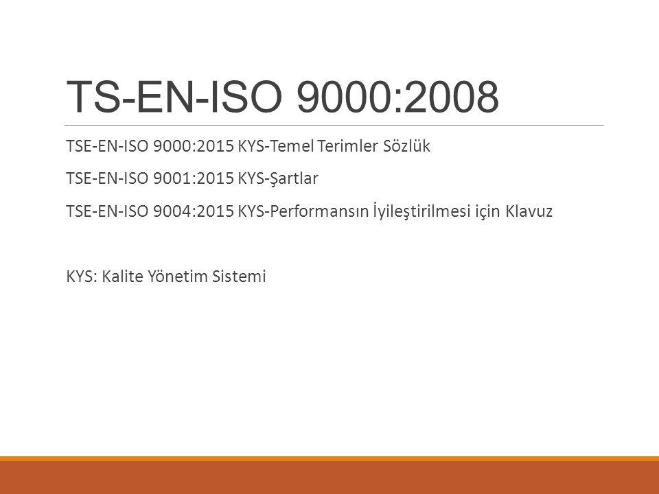 TS-EN-ISO 9000:2008 TSE-EN-ISO 9000:2015 KYS-Temel Terimler Sözlük TSE-EN-ISO 9001:2015 KYS-Şartlar TSE-EN-ISO 9004:2015 KYS-Performansın İyileştirilm