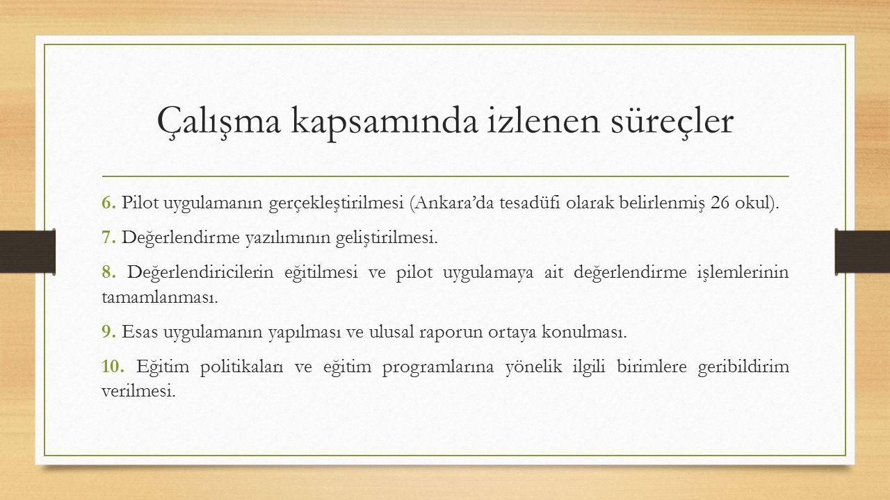Çalışma kapsamında izlenen süreçler 6. Pilot uygulamanın gerçekleştirilmesi (Ankara'da tesadüfi olarak belirlenmiş 26 okul). 7. Değerlendirme yazılımı