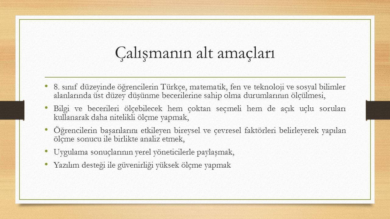 Çalışmanın alt amaçları 8. sınıf düzeyinde öğrencilerin Türkçe, matematik, fen ve teknoloji ve sosyal bilimler alanlarında üst düzey düşünme beceriler