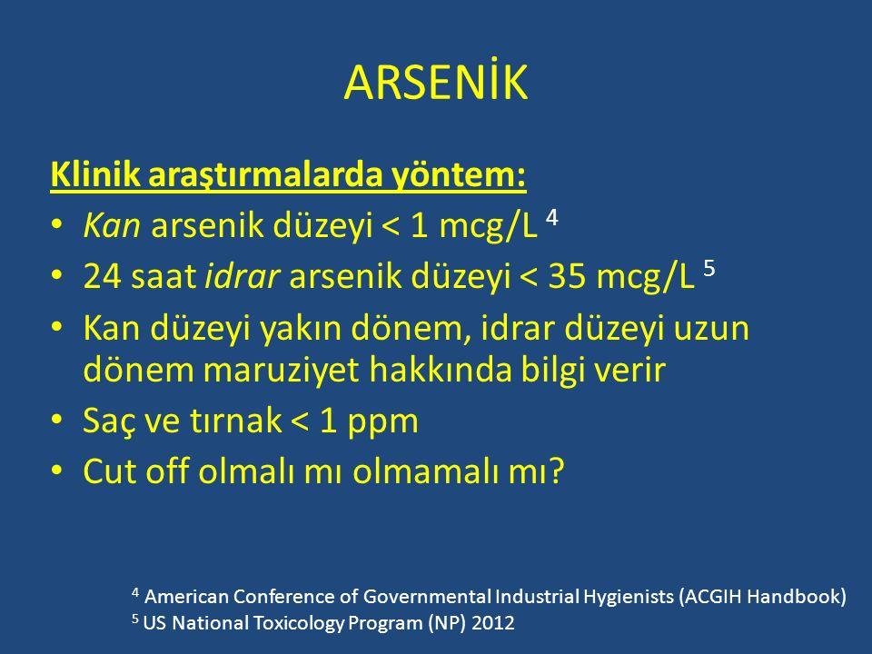 ARSENİK Klinik araştırmalarda yöntem: Kan arsenik düzeyi < 1 mcg/L 4 24 saat idrar arsenik düzeyi < 35 mcg/L 5 Kan düzeyi yakın dönem, idrar düzeyi uz