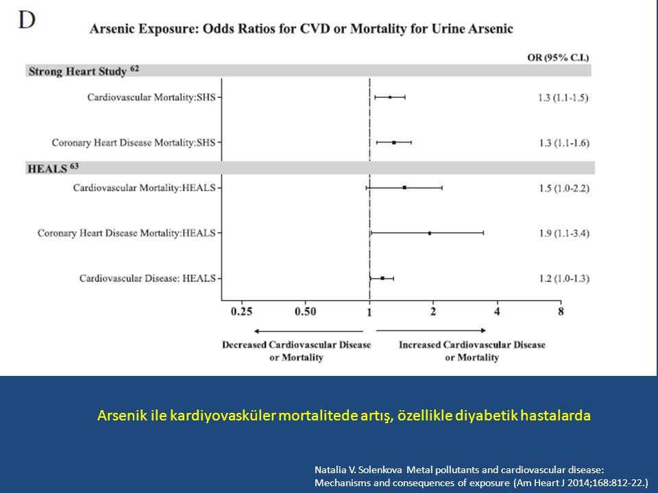 Arsenik ile kardiyovasküler mortalitede artış, özellikle diyabetik hastalarda Natalia V. Solenkova Metal pollutants and cardiovascular disease: Mechan