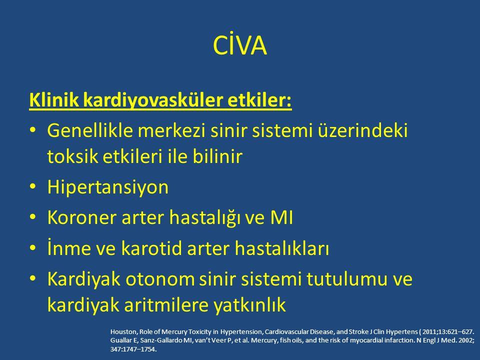 CİVA Klinik kardiyovasküler etkiler: Genellikle merkezi sinir sistemi üzerindeki toksik etkileri ile bilinir Hipertansiyon Koroner arter hastalığı ve