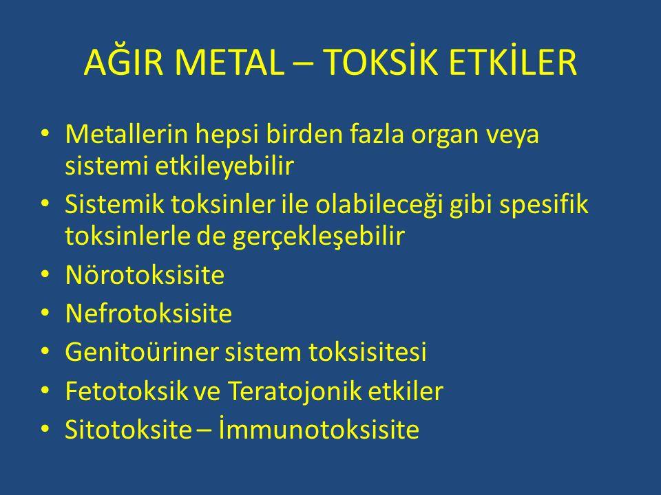 AĞIR METAL – TOKSİK ETKİLER Metallerin hepsi birden fazla organ veya sistemi etkileyebilir Sistemik toksinler ile olabileceği gibi spesifik toksinlerl
