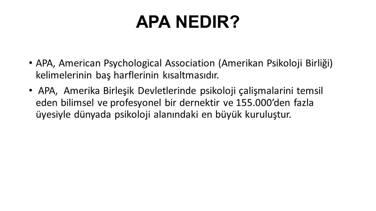 APA FORMATI NEDİR.