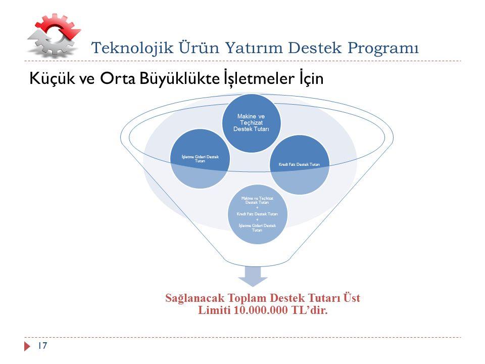 Küçük ve Orta Büyüklükte İ şletmeler İ çin Teknolojik Ürün Yatırım Destek Programı Sağlanacak Toplam Destek Tutarı Üst Limiti 10.000.000 TL'dir. Makin