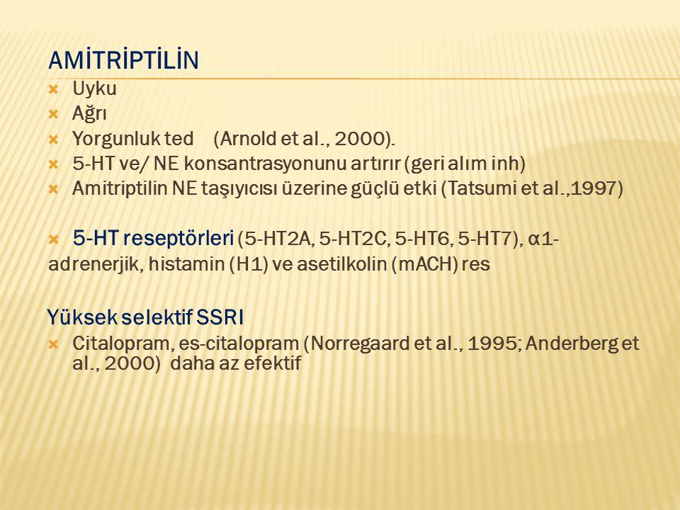 AMİTRİPTİLİN  Uyku  Ağrı  Yorgunluk ted (Arnold et al., 2000).  5-HT ve/ NE konsantrasyonunu artırır (geri alım inh)  Amitriptilin NE taşıyıcısı