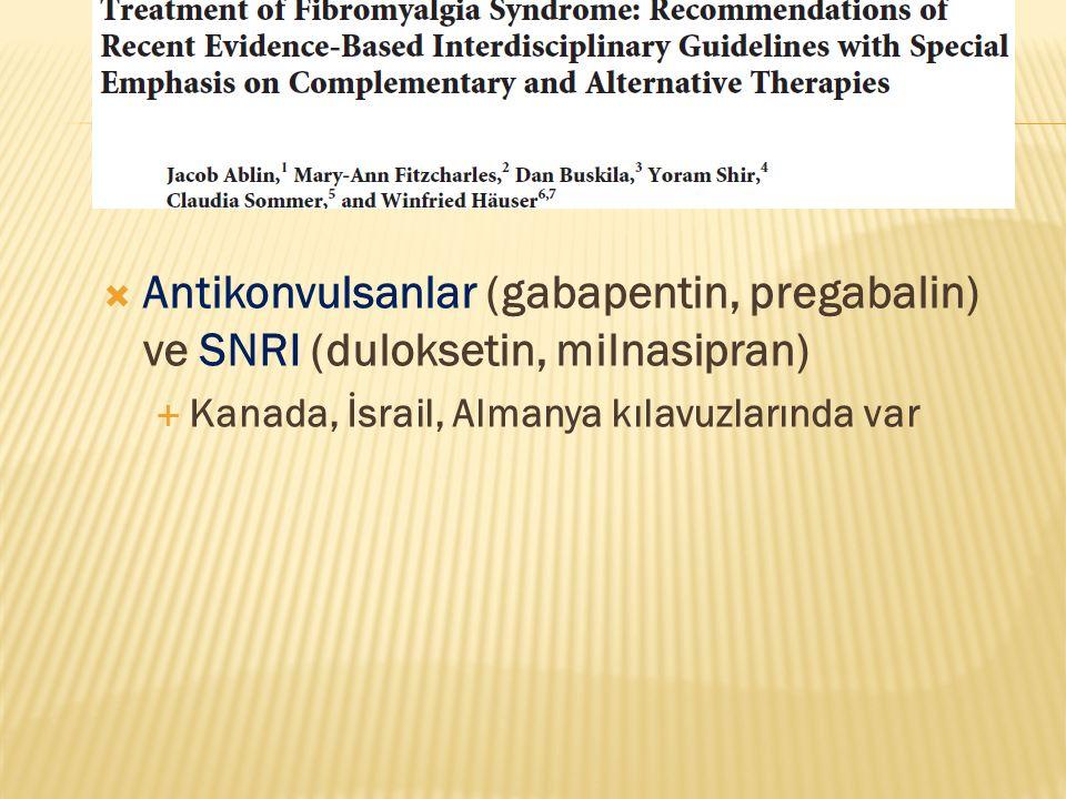  Antikonvulsanlar (gabapentin, pregabalin) ve SNRI (duloksetin, milnasipran)  Kanada, İsrail, Almanya kılavuzlarında var