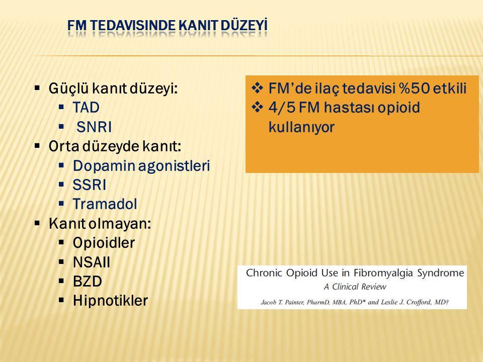  FM'de ilaç tedavisi %50 etkili  4/5 FM hastası opioid kullanıyor  Güçlü kanıt düzeyi:  TAD  SNRI  Orta düzeyde kanıt:  Dopamin agonistleri  S