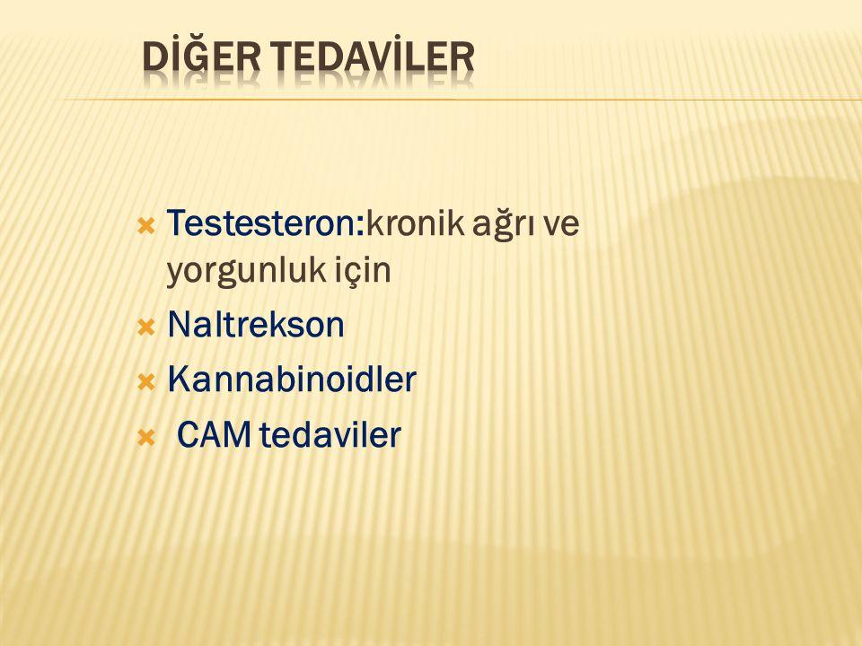  Testesteron:kronik ağrı ve yorgunluk için  Naltrekson  Kannabinoidler  CAM tedaviler