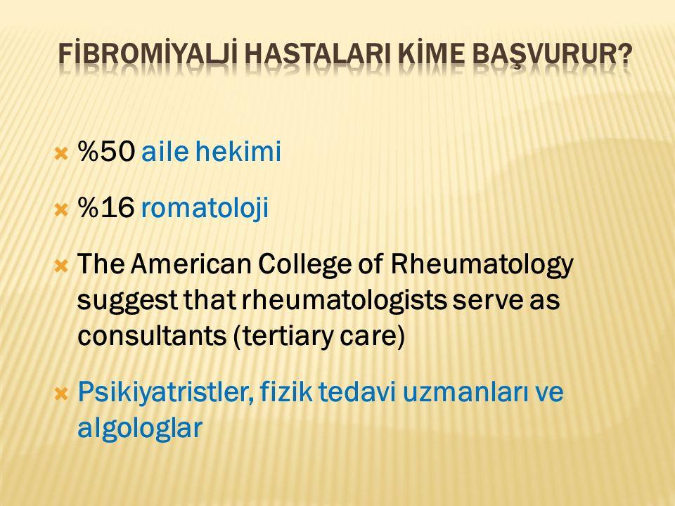  %50 aile hekimi  %16 romatoloji  The American College of Rheumatology suggest that rheumatologists serve as consultants (tertiary care)  Psikiyat