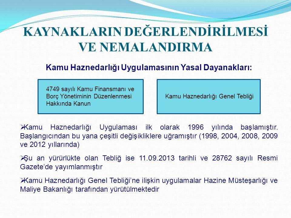 KAYNAKLARIN DEĞERLENDİRİLMESİ VE NEMALANDIRMA Kamu Haznedarlığı Uygulamasının Yasal Dayanakları:  Kamu Haznedarlığı Uygulaması ilk olarak 1996 yılında başlamıştır.