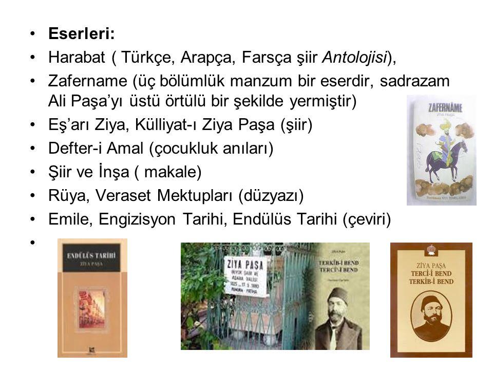 Eserleri: Harabat ( Türkçe, Arapça, Farsça şiir Antolojisi), Zafername (üç bölümlük manzum bir eserdir, sadrazam Ali Paşa'yı üstü örtülü bir şekilde y