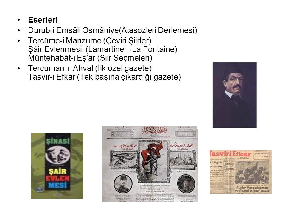 Eserleri Durub-i Emsâli Osmâniye(Atasözleri Derlemesi) Tercüme-i Manzume (Çeviri Şiirler) Şâir Evlenmesi, (Lamartine – La Fontaine) Müntehabât-ı Eş'ar